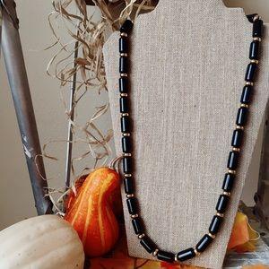 Vintage Necklace Gold Black